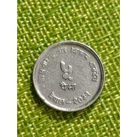 Непал 5 пайс 1974 г  Ф.А.О. Плотина Бирендра Бир Бикрам  Один год чекана!