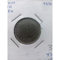 Британское Борнео 1 цент 1938 UNC!