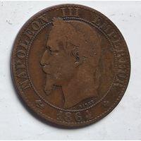 """Франция 5 сантимов, 1864 """"BB"""" - Страсбург 3-12-4"""