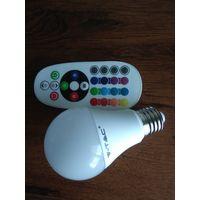 Светодиодная лампочка. Разные цвета + пульт д.у.