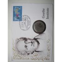ФРГ.  5 марок 1982. 150 лет со дня смерти Иоганна Вольфганга фон Гёте. Конверт, марки  ПС-14