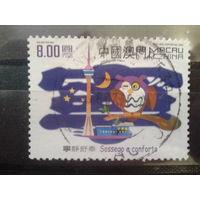 Китай Макао 2002 сова и телебашня Mi-2,5 евро гаш. высокономинальная марка 8 патака