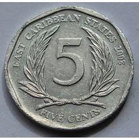 Восточные Карибы 5 центов, 2008 г.