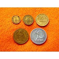 Монеты СССР 1926. 1 копейка, 2 копейки, 3 копейки, 5 копеек, один полтинник (1 полтинник, 50 копеек) 1926. Хороший сохран.