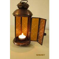 Лампа интимный светильник под свечку  20 см латунь стекло