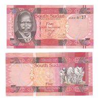 Банкнота Южный Судан 5 фунтов (2011) UNC ПРЕСС