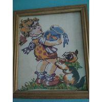 Картина-вышитая(Девочка и кот)
