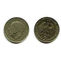 Германия ФРГ 2 марки 1974 F Theodor Heuss