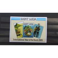 Сент-Люсия 1985г. Международный год молодежи - картины молодых святых Люцианов