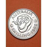Австралия 1 шиллинг 1958 серебро