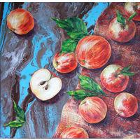 Картина маслом. Золотые яблоки. Натюрморт.