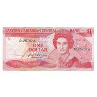 Восточные Карибские штаты Антигуа и Барбуда (Буква А) 1 доллар образца 1986 года! Редкая! Состояние aUNC!