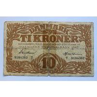 Дания, 10 крон 1943 год. - Rедкая -