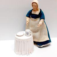 Фарфоровая тарелка и блюдце с чашкой Reutter Porzellan (кукольный дом в викторианском стиле, Дом мечты ДеАгостини DeAgostini, миниатюра 1:12) (за всё)