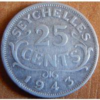 19. Сейшельские острова 25 центов 1943 год, серебро*