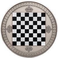 "RARE Ниуэ 5 доллара 2018г. ""Шахматы"". Монета в капсуле; подарочном футляре; номерной сертификат; коробка; шахматы. СЕРЕБРО 62,27гр.(2 oz)."