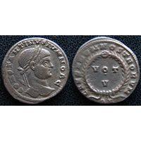 YS: Древний Рим, Константин I, медный фоллис 306-337 н.э., монетный двор Арля (QR)