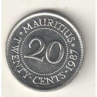 Маврикий 20 цент 1987