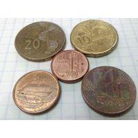 Азербайджан набор 1, 3, 5, 10, 20 гяпик 2006 набор из 5 монет