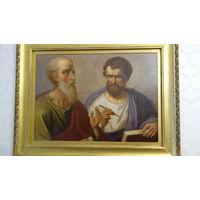 Картина старинная маслом  апостолов Петра и Павла