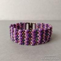 Браслет-мозаика ручной работы из бисера (фиолетовый)
