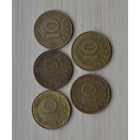 Германия 10 пфеннигов 5 шт