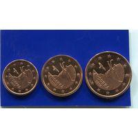 Андорра 3 монеты ( 1+2+5 ) евроцентов , UNC