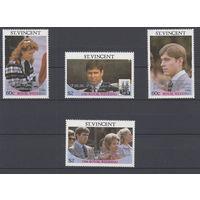Королевская семья. Ст.Винцент. 1986. 4 марки с надпечатками (полная серия). Michel N 983-986 (4,0 е)