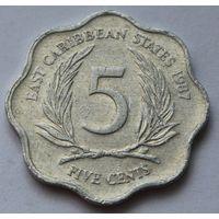 Восточные Карибы 5 центов, 1987 г.
