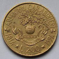 Италия, 200 лир 1994 г (180 лет карабинерам)