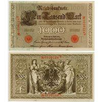 Германия. 1000 марок (образца 1910 года, P44b, оранжевая печать, UNC)