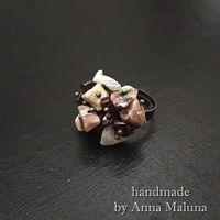 """Кольцо """"Морская галька"""" из натуральных камней"""