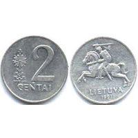 2 цента Литва 1991 (возможен обмен)