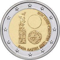 2 евро Эстония 2018  100 лет Республики UNC из ролла