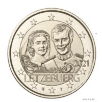 2 евро 2021 Люксембург 40 лет Свадьбы UNC из ролла рельеф