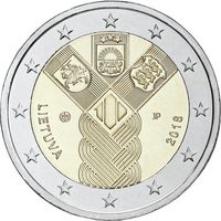 2 евро Литва 2018 100-летие независимости прибалтийских государств. Из ролла