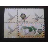 Саудовская Аравия 2012 карта мира, почтовый голубь, угол