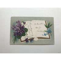 Открытка антикварная 1908 год фиалки