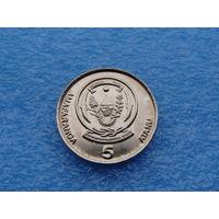 """Руанда. 5 франков 2003 год КМ#23 """"Флора """" Кофе"""""""