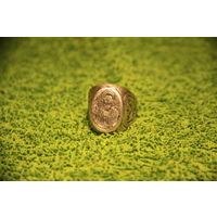 Старинный серебряный перстень ручной работы с иконкой