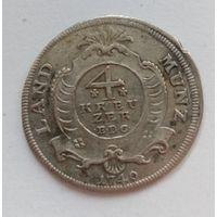 Германия графство НАССАУ-ВАЙЛЬБУРГ 4 крейцера 1749 год  (серебро)