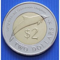 """Федеративные Штаты Микронезии. 2 доллара 2012 год  """"Дельфин""""  Тираж: 10.000"""