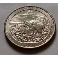 25 центов, квотер США, нац. парк Глейшер, штат Монтана, P