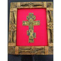 Крест киотный 19 век,в рамке новой.ОТЛИЧНЫЙ ПОДАРОК!!!