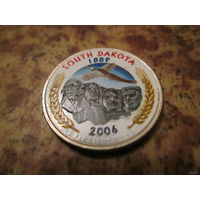 25 центов, цветной квотер США, штат Южная Дакота