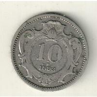 Австрия 10 геллер 1893