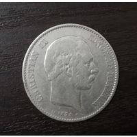 Дания 2 кроны 1875 год серебро огромная нечастая