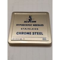 WW II. Металическая упаковка игл.ACUFIRM HYPODERMIC NEEDLES STAINLESS CHROME STEEL.ONE DOZEN No.1 MOUNT RECORD.