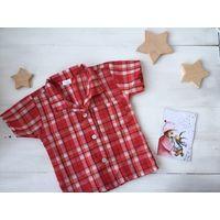 Красная рубашка в клетку для фотосессии Новогодней 1-2 года