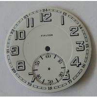 """Циферблат эмалевый на карманные часы """"FAVOR"""". Диаметр 4.6 см."""